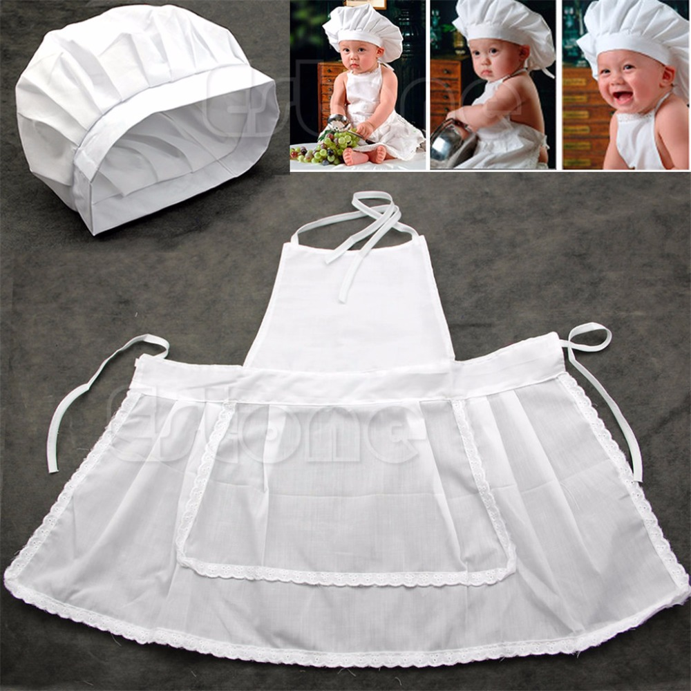 Cute Newborn Infant Hat Apron Baby Cook Costume White Photos Photography Prop baby cook costume photo photography prop white newborn hat aprons