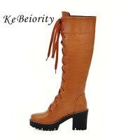 KEBEIORITY Knee High Boots Kobiety Zasznurować Buty Platformy Punk buty Kobieta Wysokie Obcasy Brązowy Biały Czarne Buty Moda Martin buty