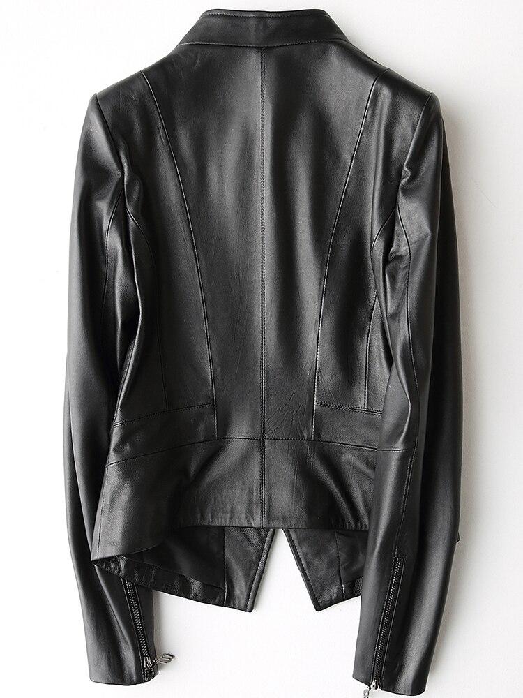 Manteau Lx2645 Cuir Doux Véritable Printemps Mince Veste Outwear Femelle Dame Black Court Femmes En Sheeskin 2019 Réel 8ONmyv0nw