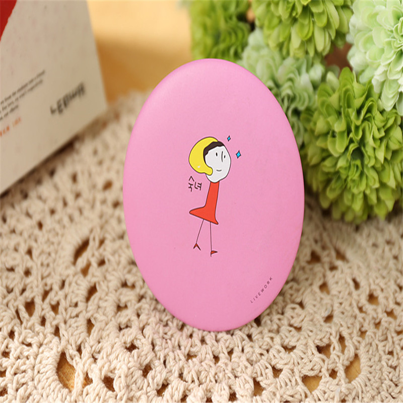 Kaizm Makeup Mirros 1Pcs Round Cartoon Pattern Mirror For Girl Portable Compact Mini Pocket Cosmetic Cartoon Mirror Round Shape