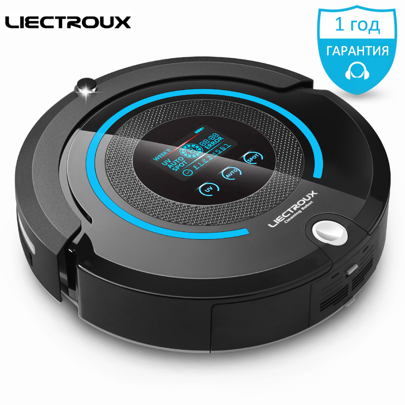 (Ship from RU) LIECTROUX A338 mop home Robot Vacuum Cleaner (Vacuum,Sweep,Mop,Sterilize)dry Schedule,Virtual Blocker,Self Charge high end multifunction sweep vacuum mop sterilize smart vacuum cleaner robot with remote control lcd schedule virtual blocker