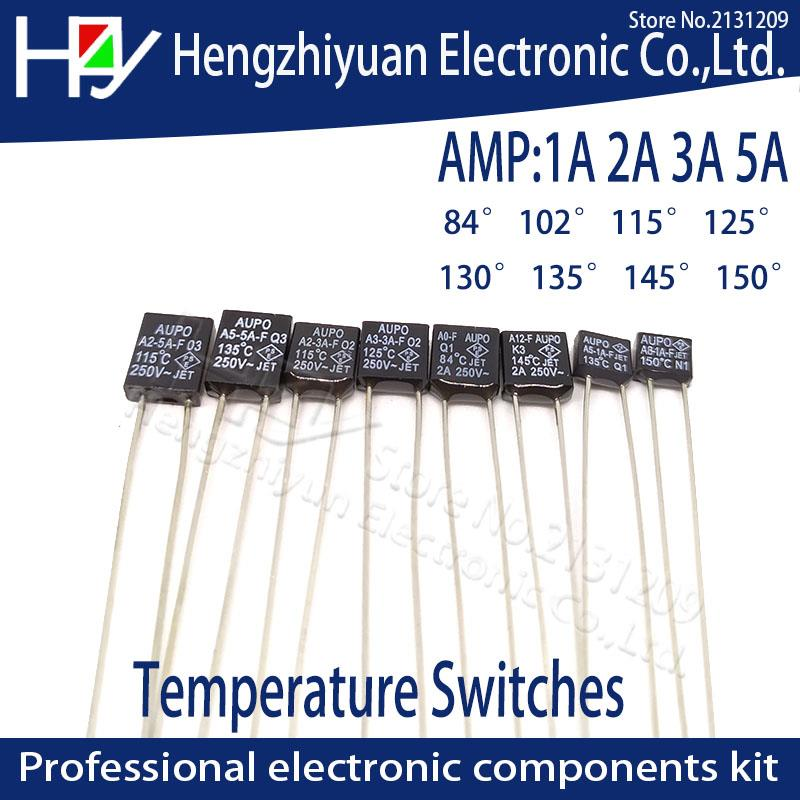 Black Square 1A 2A 3A 5A 250V  Thermal Fuse Cutoff  84C 102C 115C 125C 130C 135C 145C 150C Degree LED Fuses Temperature Switches