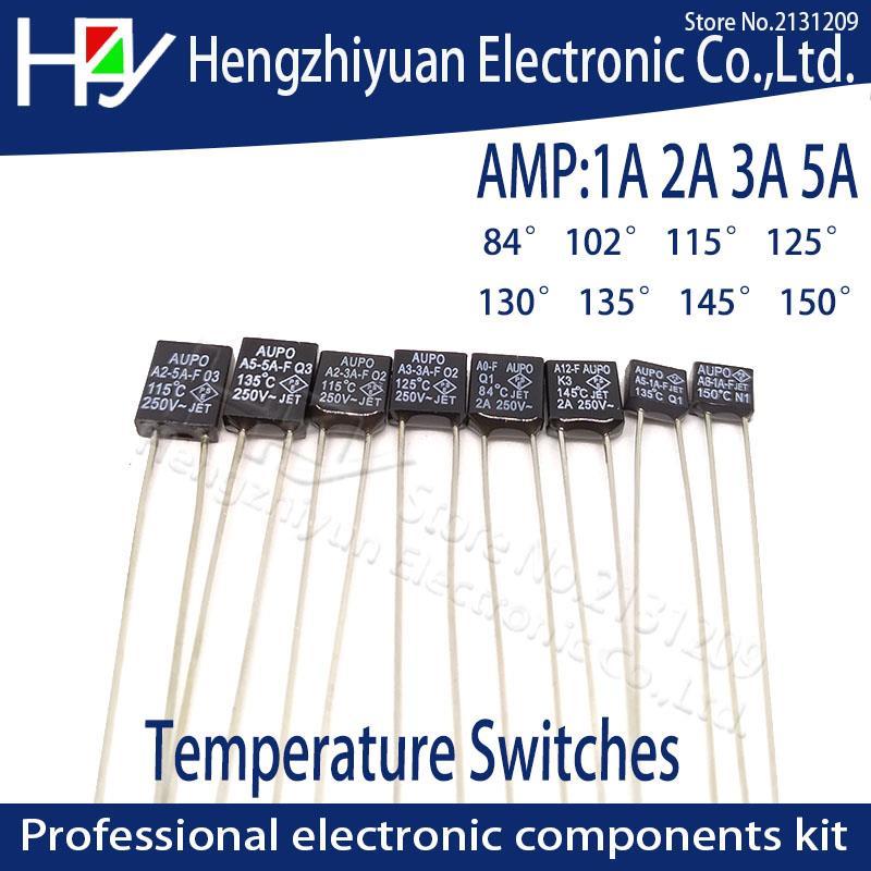 10Pcs Gold Tone Terminals Temperature Control Switch Thermostat 82C 250V 10A