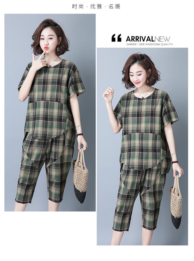 2019 Summer Plaid Cotton Linen Two Piece Sets Outfits Women Plus Size Short Sleeve Tops And Cropped Pants Casual Suits Red Green 47