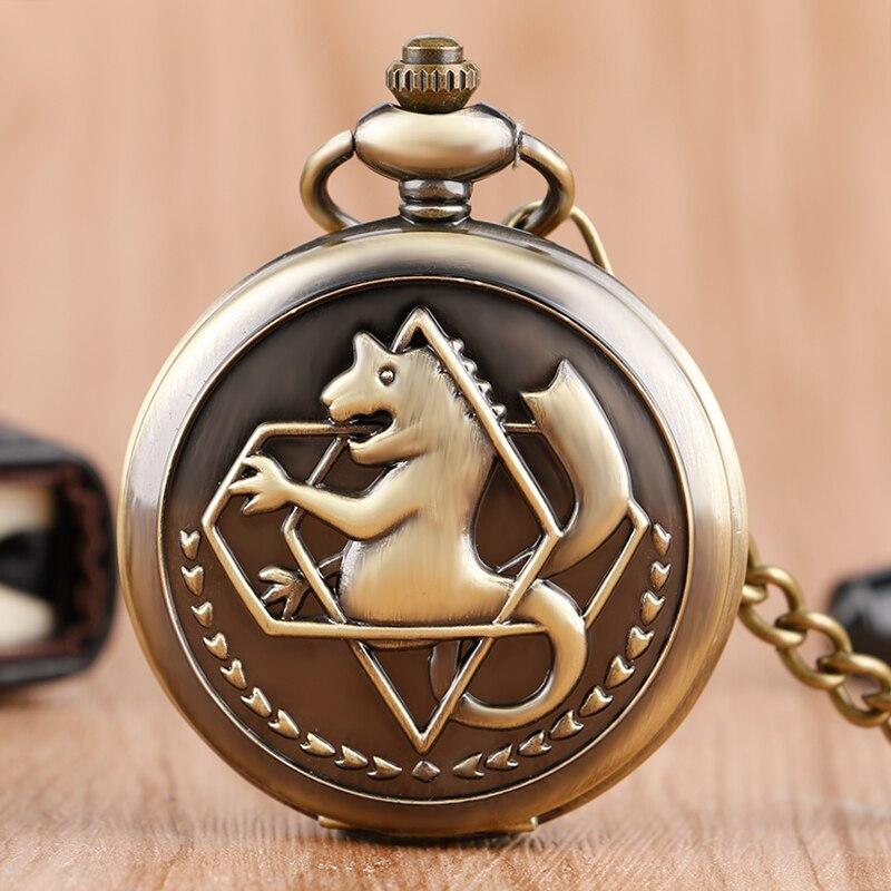Antike Fullmetal Alchemist Cosplay Edward Elric Quarz Taschenuhr Silber Bronze Schwarz Kette Anhänger Uhr Frauen Männer Geschenk Uhren