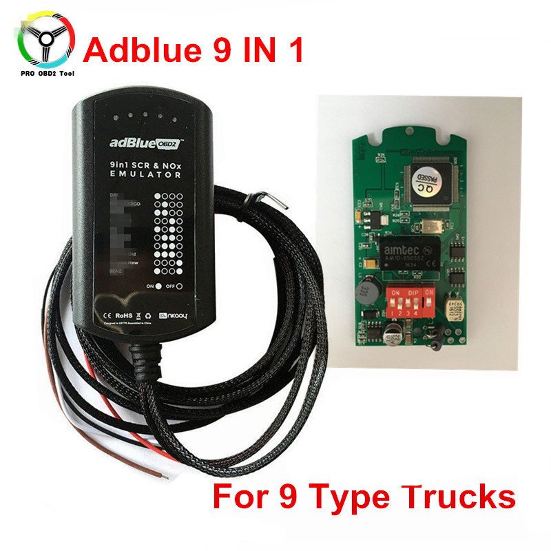 High Quality Adblue Emulation 9 In 1 Truck Ad-blue OBD2 Remove Tool 9in1 Adblue Emulator Support EURO 4&5 OBD Car Scanner 10 pcs hot new arrival truck adblue obd2 renault def nox emulator via obd2 adblue obd2 for renault dhl free