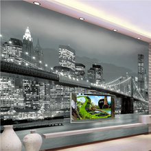 beibehang  papier peint  wallpaper for walls 3 d Custom wallpaper  New York Bridge Architecture Night view TV wall murals behang panseron elemens d architecture