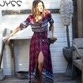JYSS 2017 New arrival Mulheres Bohemian longo vestido de algodão Profundo vermelho com decote em v vestido estampado para a primavera outono as mulheres se vestem de moda 9376