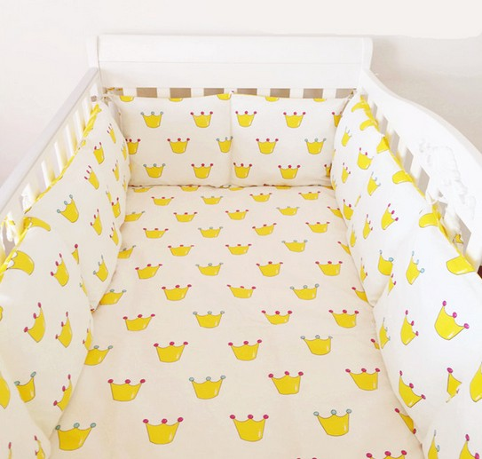 Promotion! 6PCS Cotton Cot Baby Bedding Set Cartoon Crib Bedding Set for Girls Detachable (bumpers+sheet+pillow cover) promotion 6pcs cot bedding set for girls boys baby crib bedding set bumpers sheet pillow cover