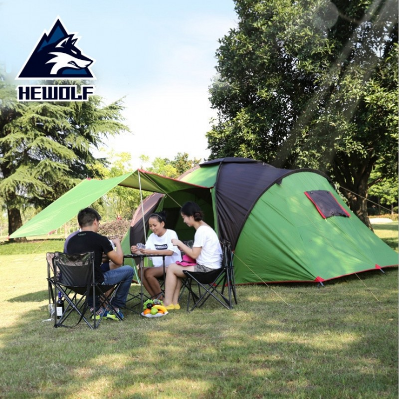 2018 New ANTI-UV Two Bedroom One Hall 4-6 Person Use Double Layer High Quality Large Waterproof Windproof Camping Family Tent 2015 new style high quality double layer untralarge one hall one bedroom family party camping tent