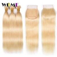 Женские предварительно 613 Связки с закрытием Малайзии блондинку прямо волос дешевые 613 Связки с закрытием