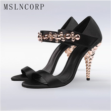 Size 34-44 Fashion Genuine Leather Metal flower high heels open toe women sandals Summer sexy ladies ankle strap pumps shoes New formal dress shoes summer women sexy new fashion open toe snake leather high platform sandals ankle strap cross high heel pumps