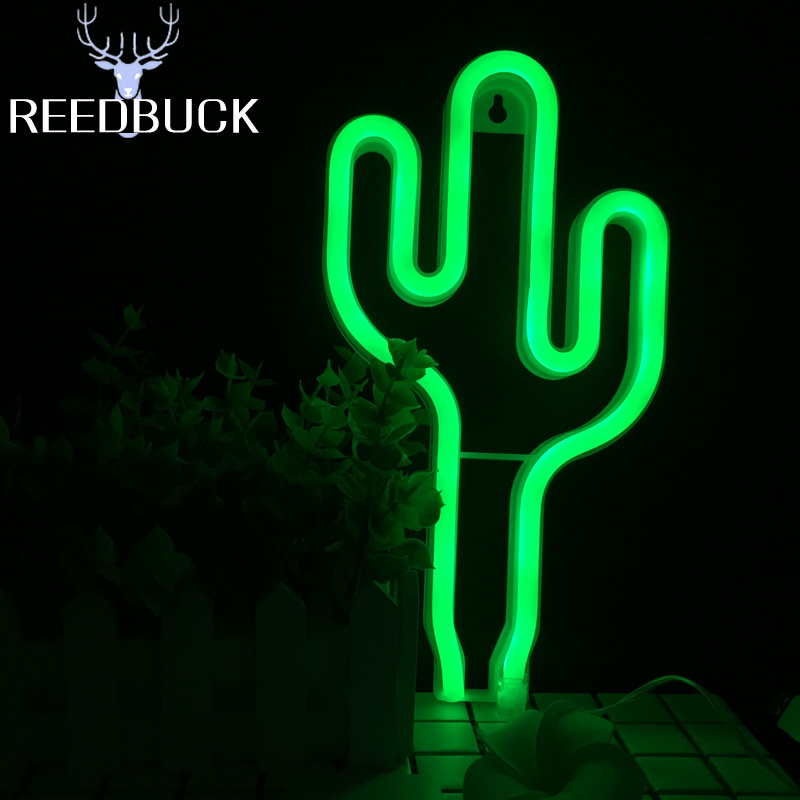 Led Neon Light Cactus Night Lamp Wall Table Desk Usb Aa