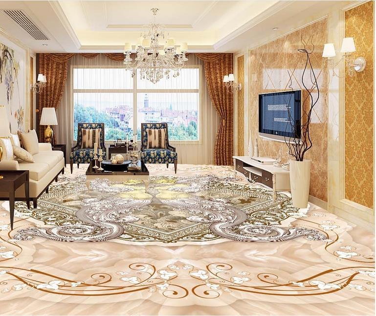 luxury 3d floor wall paper custom 3d floor paper marble mosaic 3d floor bathroom waterproof adhesive