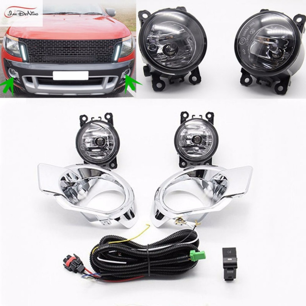 JanDeNing Car Fog Lights for Ford RANGER 2012 Clear Halogen bulb:H11-12V 55W Front Fog Lights Bumper Lamps Kit car styling fog lights for toyota camry 2012 2014 pair of 12v 55w front fog lights bumper lamps daytime running lights