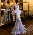 Последние кружева русалка свадебное платье off-плечу V шеи длинным пуховкой рукава развертки поезд