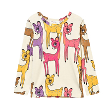 Girls Clothes Roe Deer Sika Print Animal Autumn Winter Long Sleeve T-shirt For Kids Children Tee-shirt Enfant Minecarft
