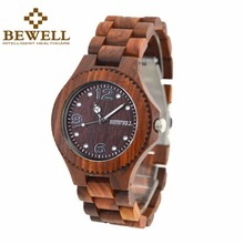 BEWELL Wooden Men Watch Top Brand Luxury Quartz Wood Wristwatch with Special Dial Plate Arabic Number 038A