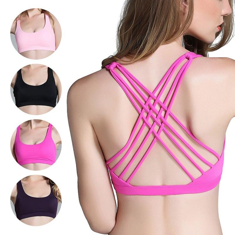 Woman Sports Bra Push Up Active Wear Tops For Women Gym Pink Brassiere Sport Bra Criss Cross Crop Top 2018 Female Yoga Bra
