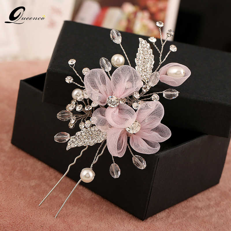 Bridal Hair Accessories Hair Pins Handmade Pink Lace Flowers Hairpins Handmade Pearl Jewelry Vintage Crystal Hair Combs