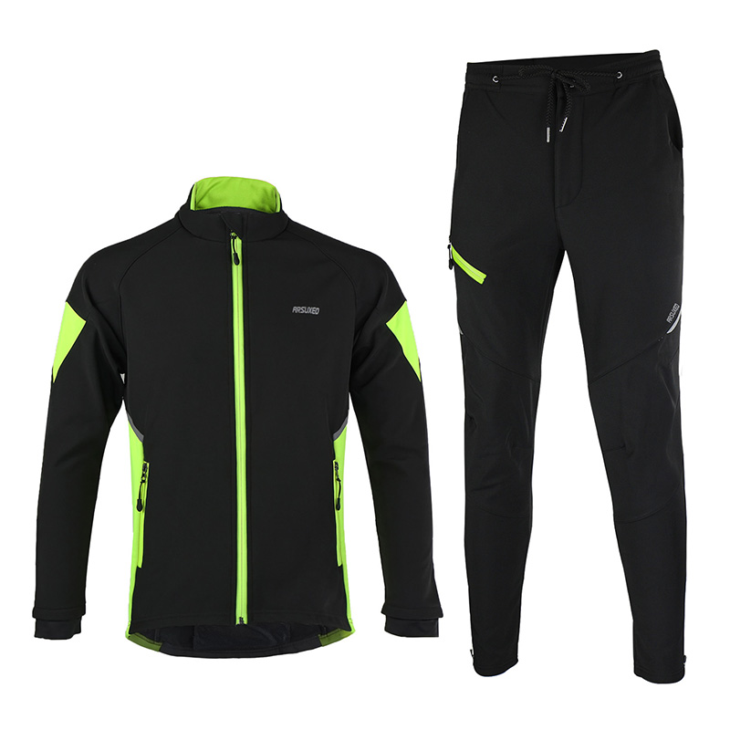 ФОТО ARSUXEO Thermal Winter Outdoor Jacket Sets Cycling Bicycle Suit Clothing Windproof Waterproof Soft Shell Coat MTB Bike Pant 15-Q