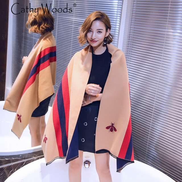 Womens Scarfs 2016 Winter Scarf Laides Luxury Brand Cashmere Scarf Shawls and Scarves Women Bee Pattern Animal Warm Pashmina Hot