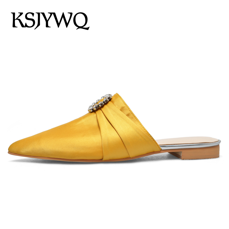KSJYWQ Yellow Plus Size Women Mules 2CM Low Heels Sexy Ladies Pointed-toe Designer Shoes Summer Party Slippers Box packing 8-685 ksjywq plus size women red pumps slip on summer dress shoes 10 cm high heels sexy pointed toe woman stilettos box packing 1259 1