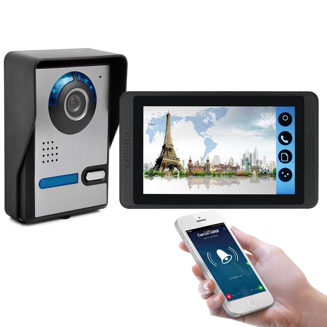 SmartYIBA Wifi Wired Video Intercom Doorphone HD 1000tvl Outdoor Camera IR-cut Night Vision Waterproof View Angle 92 Degree