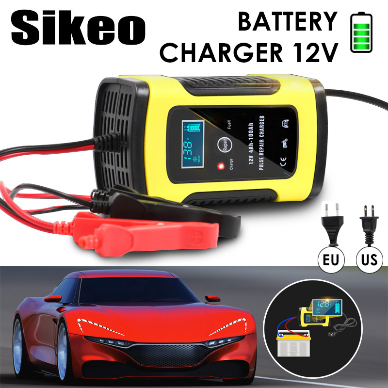 Cargador de batería de coche 110VTo220V inteligente pantalla LCD completa inteligente automático rápido para Auto de la motocicleta LeadAcid baterías de carga