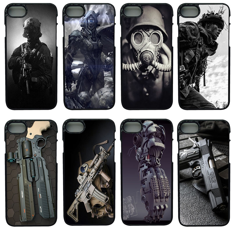 Army Fan Weapons Guns Cell Phone Cases Hard Plastic Shell Protect for iphone 8 7 6 6S PLUS X 5S 5C 5 SE iPod Touch 4 5 6 Cover