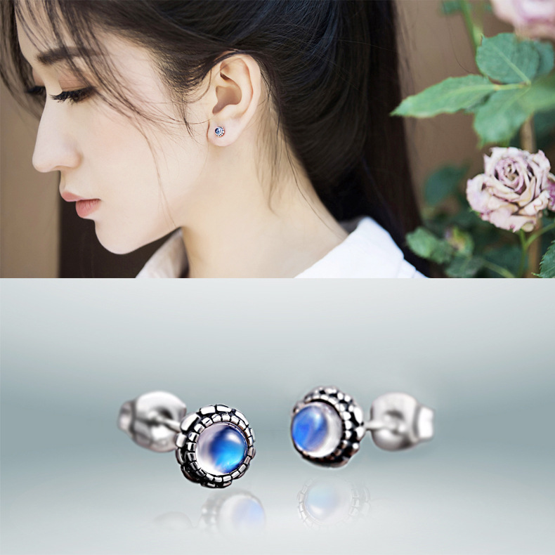 natural moonlight Stone Earrings Sterling Silver Jewelry Earrings personality ladies 925 silver jewelry wholesale