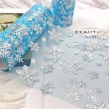 15cm*10yards Snowflake Organza Tulle Roll Spool Fabric Ribbon Bolt DIY Tutu Skirt Gift Craft Party Bow Wedding Xmas Decor