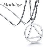 Modyle-collar con colgante redondo de triángulo de acero inoxidable para hombre, Color dorado y plateado