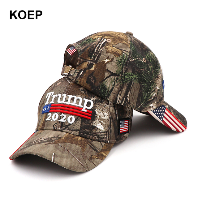 huge discount e1c17 31ad5 KOEP Donald Trump 2020 Cap Camouflage USA Flag Baseball Caps Keep America  Great Snapback Hat 3D Embroidery Star Letter Camo Army