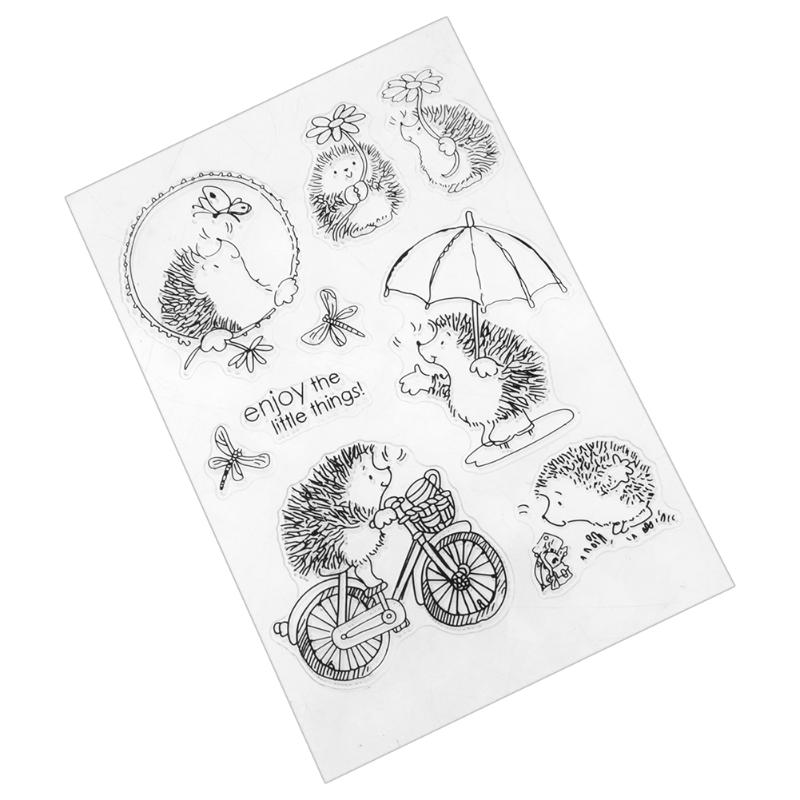 Cute Hedgehog Clear Stamps Transparent Silicone Stamps For