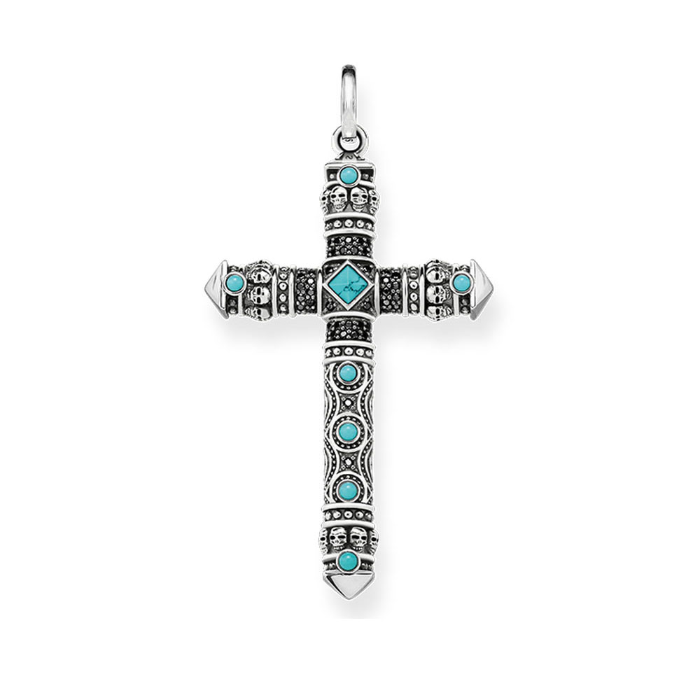 Blue Stone Skull Cross Pendants Thomas Style 925 Sterling Silver Fashion Jewelry DIY Necklace Accessories for Women Men 2018 New