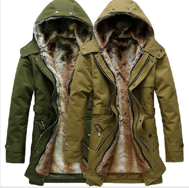 HOT 20 Long Thicken PARKAcoat men outdoors jacket faux fur lined jacket mens  winter trench coat with hood fashion Slim fit-in Parkas from Menu0027s Clothing  ...