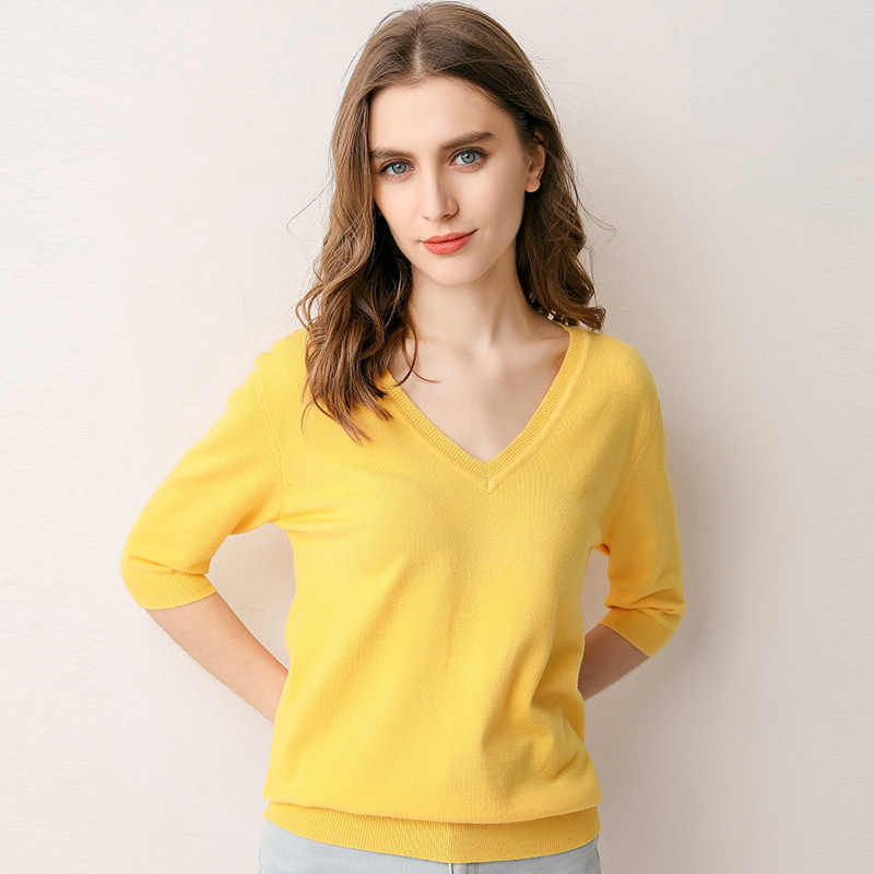 Suéter de primavera 2019 Jersey de punto para mujer suéter de cachemira fino cuello en V de manga corta de lana jerseys