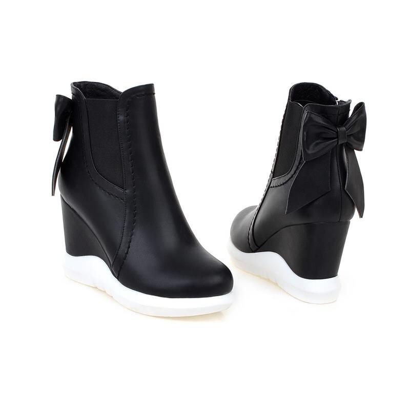 De Smeeroon Bowtie Red black Chaussures Mode Plate forme Femme Coins 2018 Simple D'hiver Bottes Nouvelle Cheville Automne Femmes grxHwqg1E
