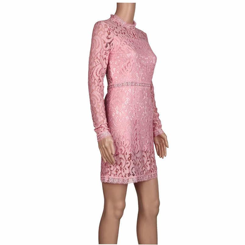 ファッション女性の夏のレース長袖パーティーセクシーなドレススリムピンク中空アウトカクテルショートミニドレス Vestidos30