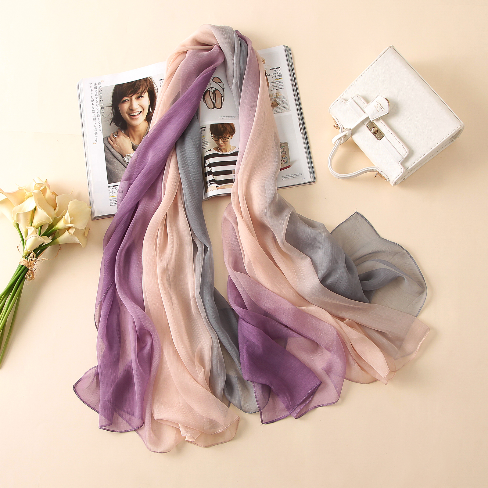 2018 summer women scarf fashion soft Crepon candy color silk scarves shawls and pashmina lady caps female bandanas large Foulard