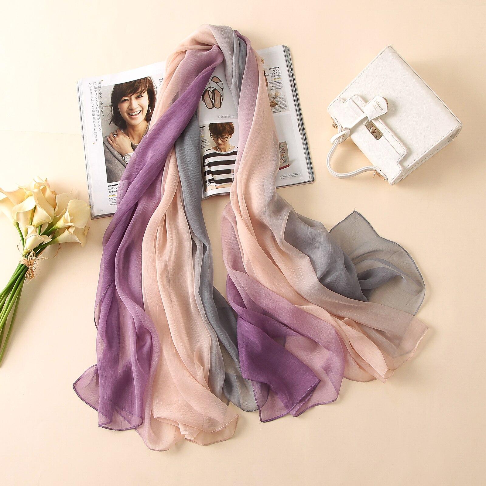 2018 sommar kvinnor halsduk mode mjuka Crepon godis färg silke halsdukar sjalar och pashmina lady caps kvinnliga bandanas stora Foulard