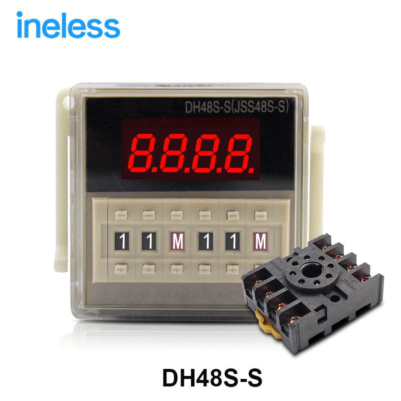 DH48S-S AC220V repeat cycle SPDT time relay with socket DH48S series 220VAC delay timer with base zys48 s dh48s s ac 220v repeat cycle dpdt time delay relay timer counter with socket base 220vac