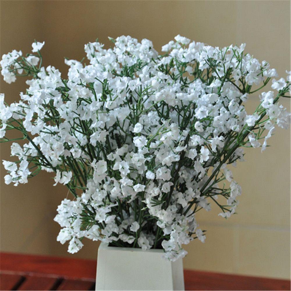 White Fake Silk Artificial Gypsophila Flower Bouquet Wedding Party