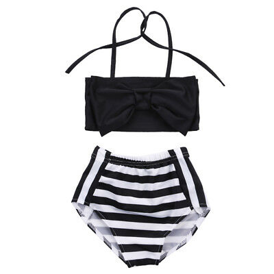 Cute Baby Kids Girl Bikini Set Swimwear Striped Swimming Bathing Suit Swimsuit