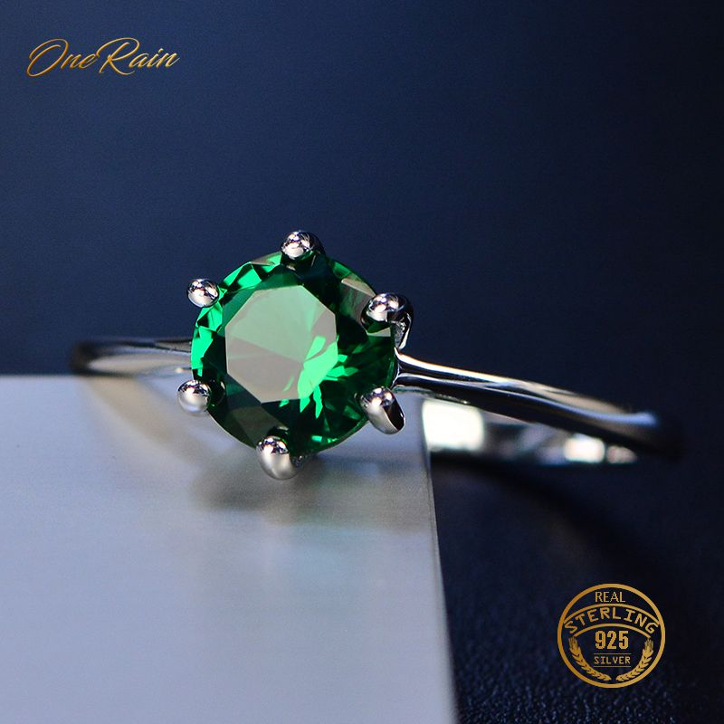 OneRain 100% 925 Sterling Silver 7MM Round Gemstone Birthstone Wedding Engagement Simple Ring Jewelry Wholesale Size 5-12