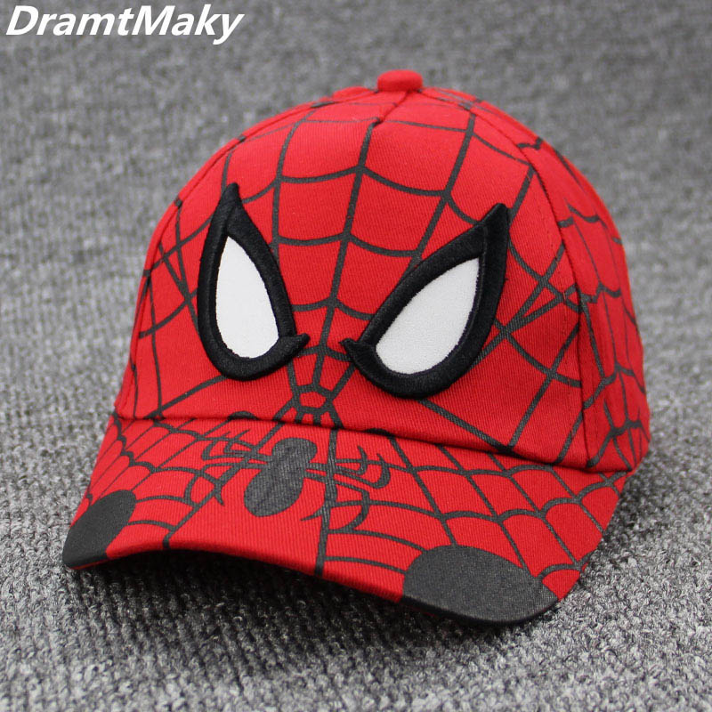 Spiderman Cartoon Children Embroidery Cotton Baseball Cap kids Boy Girl Hip Hop Hat Spiderman cosplay hat Snapback Adjustable movie tv cartoon games plush white cotton poro warm embroidery hat beanie cosplay games poro winter cap [ stock 3 style ]