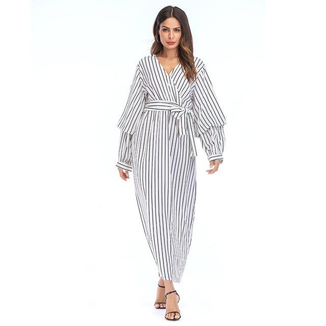7f59fabe808 Plus Size Summer Dress Women 2018 Vestido Vestidos Maxi Long Sleeve Dresses  Elegant Casual Striped Muslim Clothes 4XL 5XL