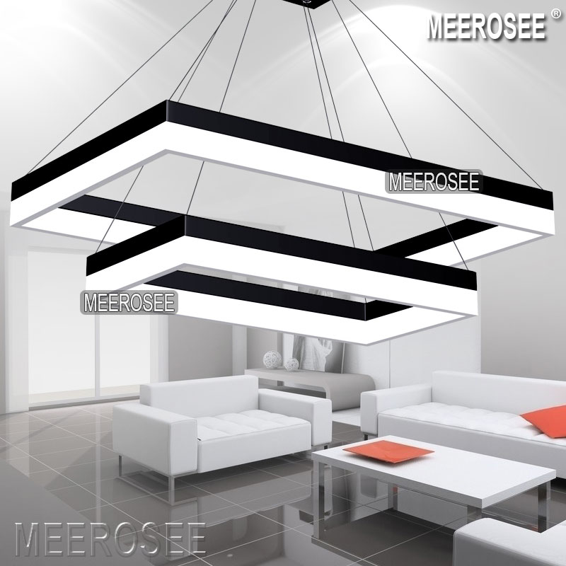 Modern Led Rectangle Pendant Light Fixture Gold Dining Room Lighting And Black For Choice Suspension Lamp In Lights From