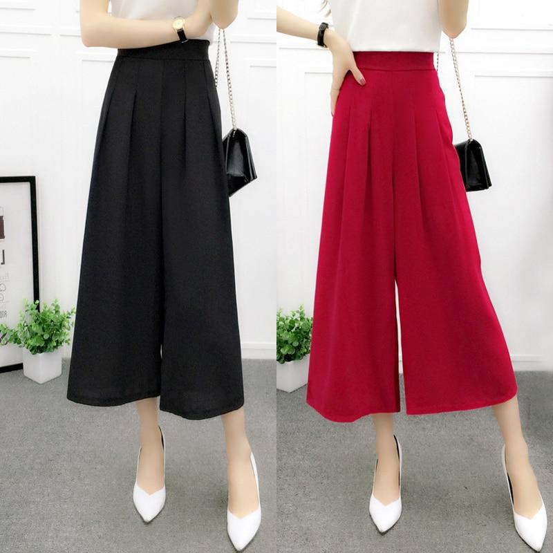 2018Women's summer cotton linen wide leg pants big yards loose pant fashion culottes elastic waist pantyhose female casual pants